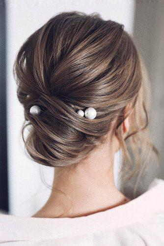 classical wedding hairstyles elegant low chignon with pearls tonyastylist