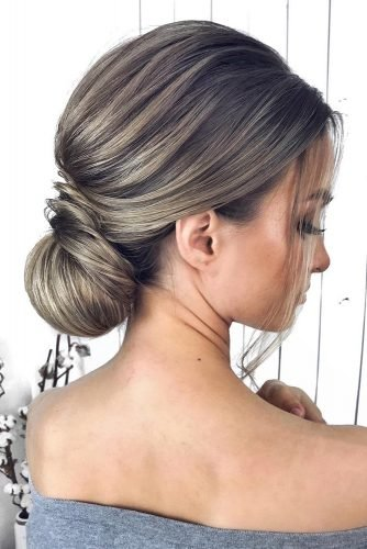 classical wedding hairstyles elegant low swept chignon on medium hair mpobedinskaya