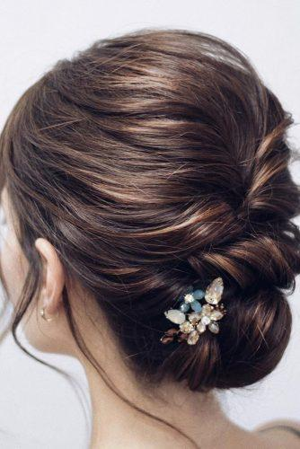 classical wedding hairstyles elegant low swept updo with hairpin svetakinyapina