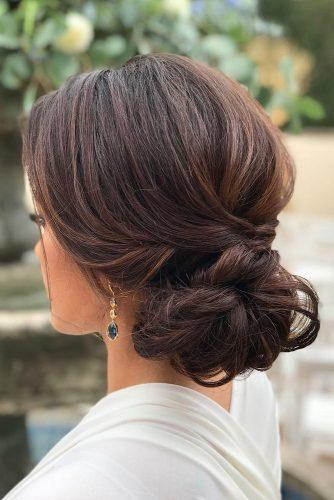 classical wedding hairstyles elegant low updo on medium hair sunkissedandmadeup via instagram