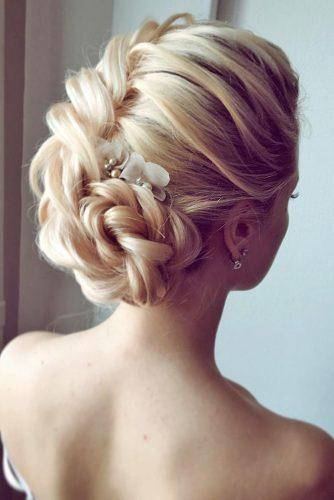 classical wedding hairstyles gentle braided updoon blonde hair lenabogucharskaya via instagram