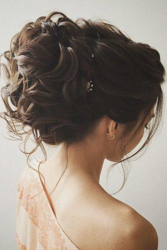 classical wedding hairstyles high curly on brunette hair lenabogucharskaya via instagram