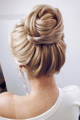 classical wedding hairstyles high textured bun lenabogucharskaya via instagram