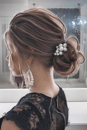 classical wedding hairstyles slightly messy low bun with pearls tatianasolne4naya