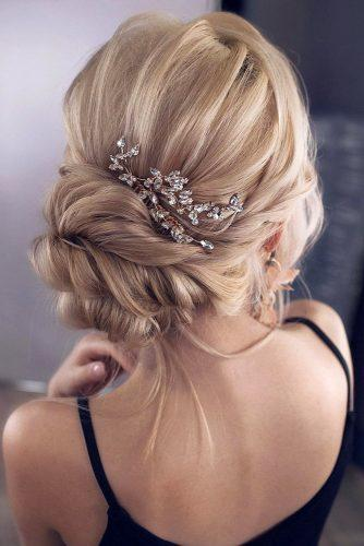 classical wedding hairstyles swept back bridal updo on blonde hair tonyastylist via instagram