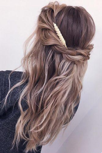 classical wedding hairstyles textured beach waves half up half down xenia_stylist via instagram
