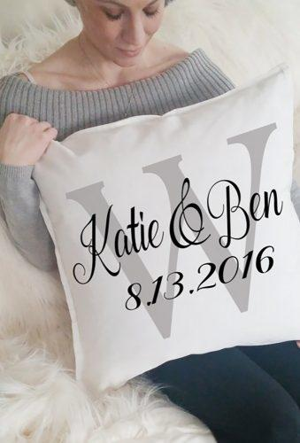 engagement gifts pillow with date 42ndStDesigns