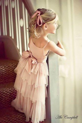 flower girl dresses long blush tulle spaghetti straps with back bow abi campbell