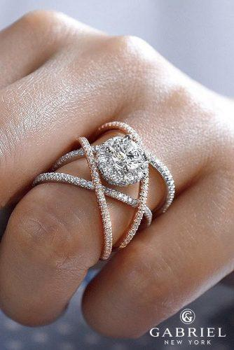 gabriel co engagement rings split shank twist pave and rose gold white gold diamond