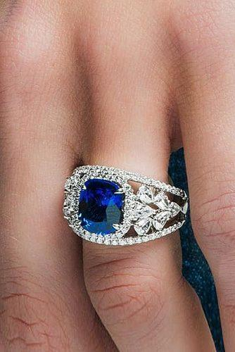 gold engagement rings cushion cut sapphire unique pave band