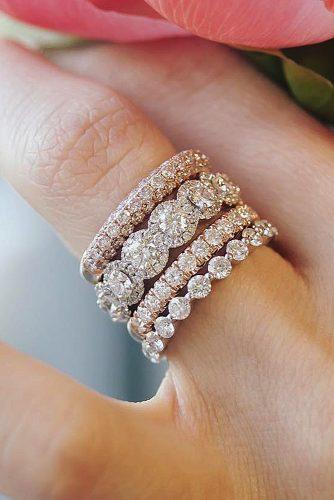 gold engagement rings stackable rose gold white halo