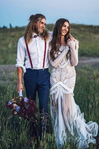 groom attire blue suits with suspenders boho style nicole ashley