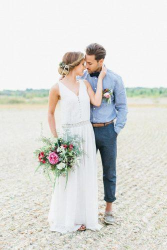 groom attire bohemian blue suit with boutonniere julia jil photo