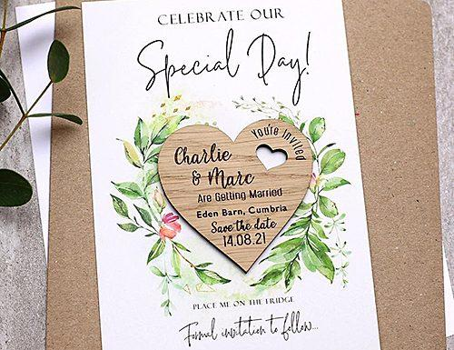 how to address save the dates wood magnet