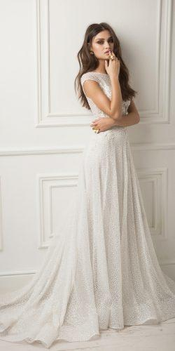 lihi hod wedding dresses a line lace bling cap sleeve beautiful bateau neckline