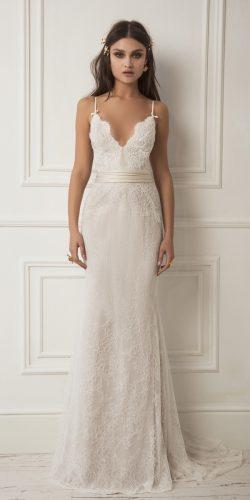 lihi hod wedding dresses sheath lace plunging v neckline spaghetti straps