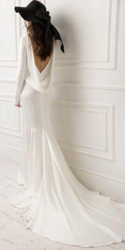 lihi hod wedding dresses sheath low back long sleeves simple with train