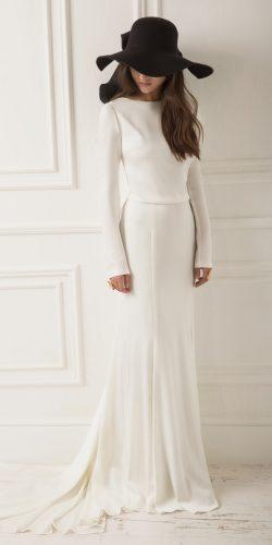 lihi hod wedding dresses sheath simple long sleeves with train