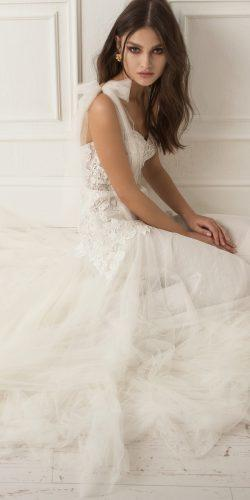 lihi hod wedding dresses straight flowy sweetheart neckline lace shoulder bows with train