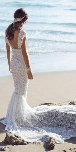 mermaid low back cap sleeves lace with train anna campbell wedding dresses coco