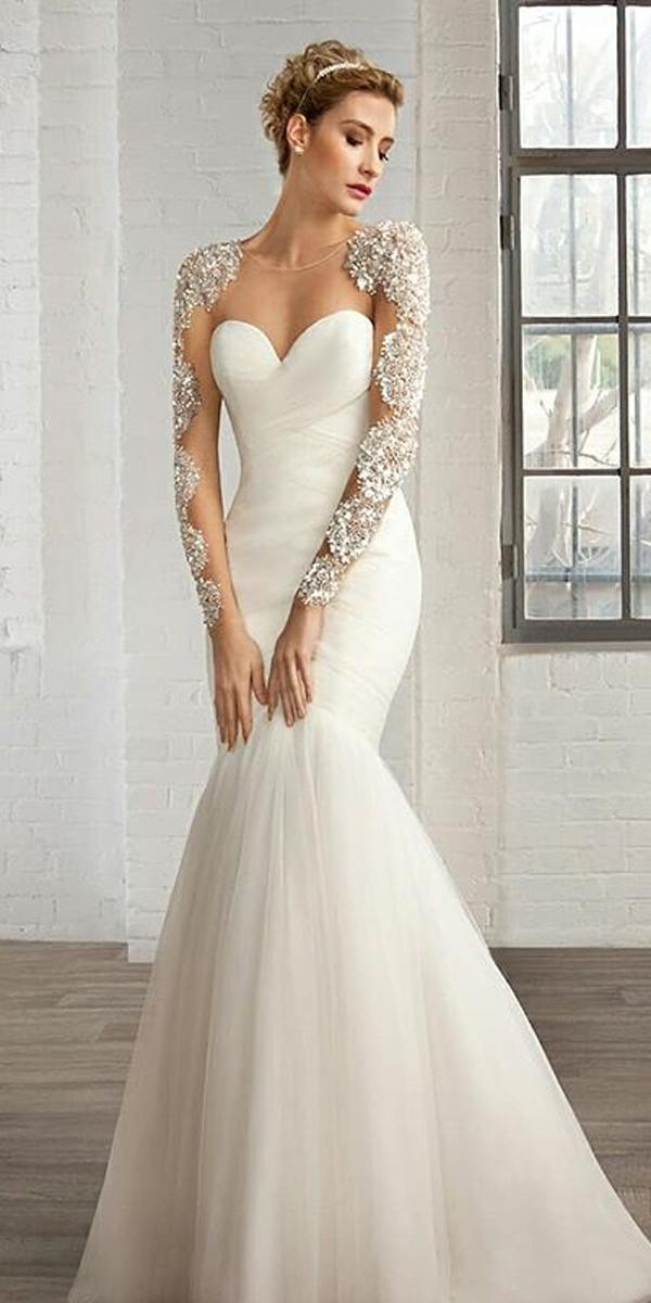 mermaid wedding dresses simple trendy illusion sweetheart neck with tattoo effect long sleeves demetrios bride