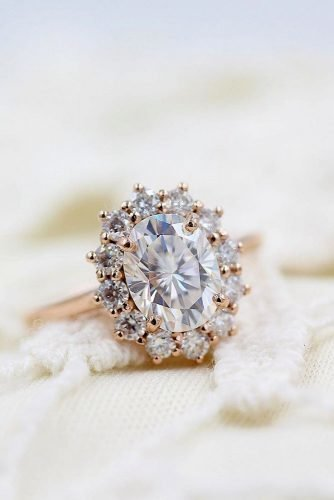 moissanite engagement rings rose gold engagement rings halo engagement rings flower rings taylorcustomrings