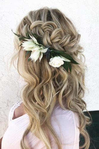 pinterest wedding hairstyles curly half up half down with braid and white flowers svglamour