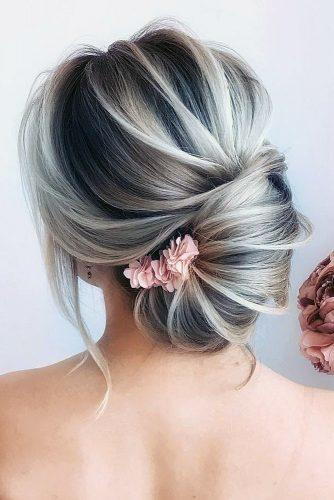 pinterest wedding hairstyles elegant textured french roll with flower pink hairstyle_by_elena_demchenko