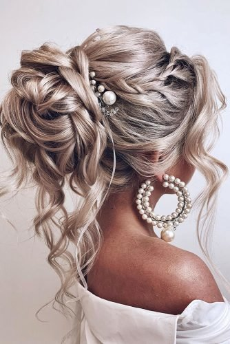 pinterest wedding hairstyles high wavy updo with loose blonde curls and pealy pins kristina_fedorova