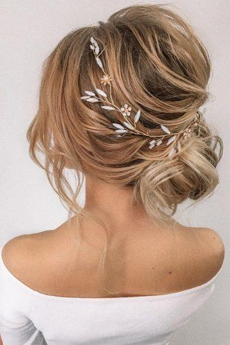 pinterest wedding hairstyles volume low bun slightly messy on blonde hair with halo olesya_zemskova