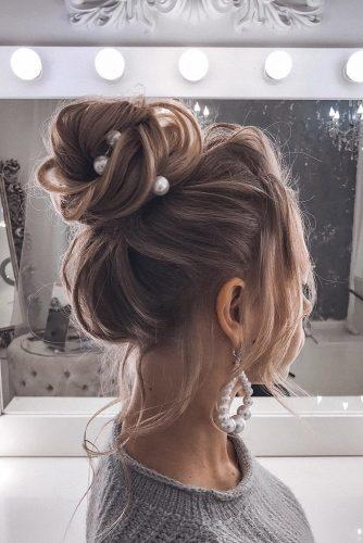 pinterest wedding hairstyles volume textured high bun with pearls tatianasolne4naya