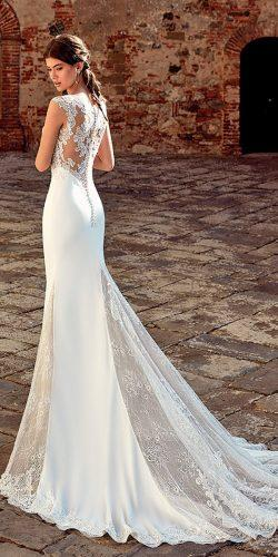 sheath with over skirt lace backless cap sleeves mermaid wedding dresses eddy k