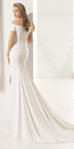 simple casual wedding dresses off the shoulder trumpet with train rosa clara