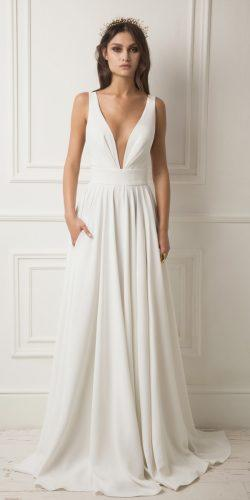 simple deep v neckline sleeveless with straps a line lihi hod wedding dresses
