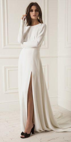 straight high slit long sleeves simple with train lihi hod wedding dresses