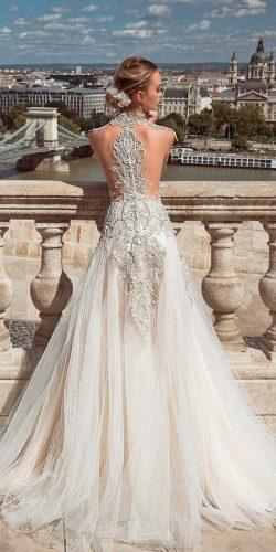 tattoo effect wedding dresses low backless lace a line embellishment sleeveless oved cohen