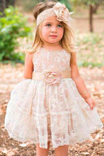 vintage flower girl dresses short lace sleeveless poshpeanut