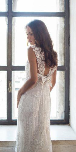 vintage sheath open back lace shoulders with silk bow anna campbell 2018 wedding dresses alyssa