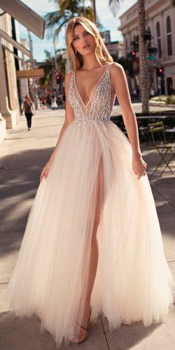 wedding dresses 2019 a line deep v neck sleeveless high slit embroidered bodice berta