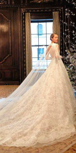 wedding dresses 2019 ball gown lace high neck long sleeve open back monique lhuillier