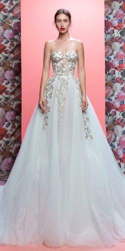 wedding dresses 2019 ball gown strapless sweetheart neck floral applique galia lahav