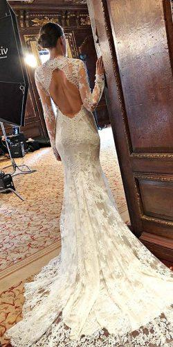 wedding dresses 2019 trumpet lace high neckline long sleeve low back monique lhuillier