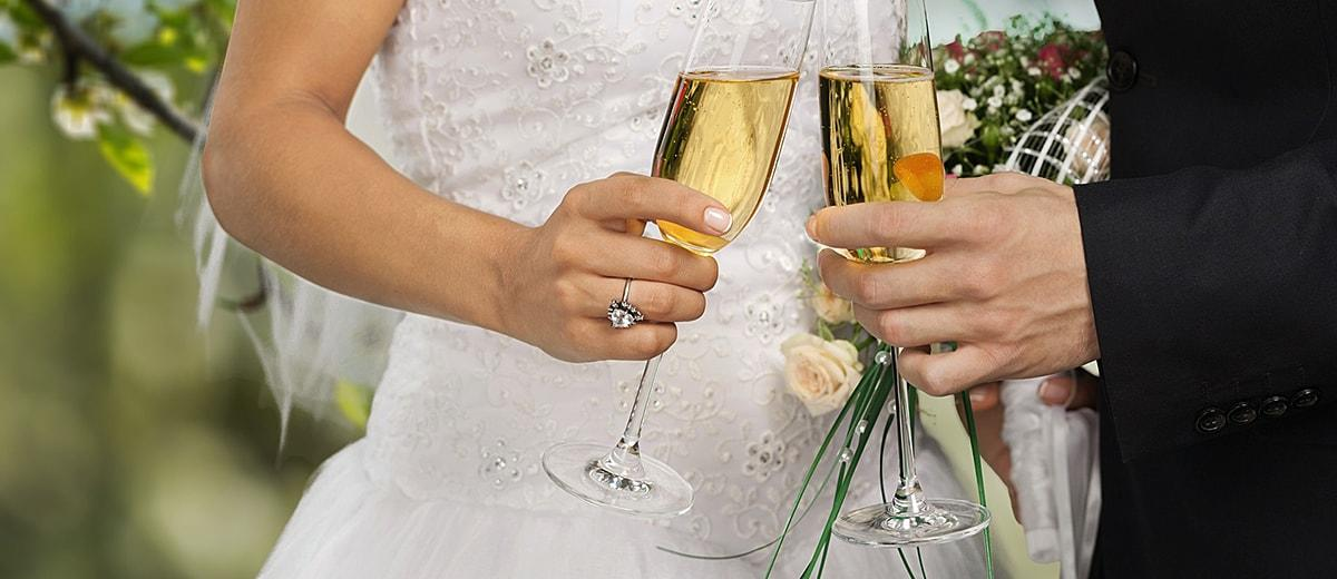 Wedding Toasts Bride And Groom Hands Champagne