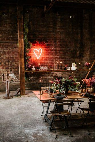 2019 wedding trends from pinterest loft reception neon heart shaped decor red berry photography