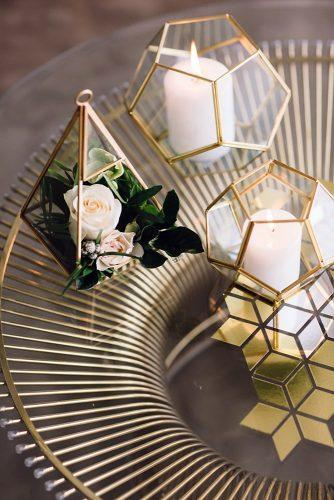 2019 wedding trends from pinterest metallic table and geometric decorations with flowers paula visco photography