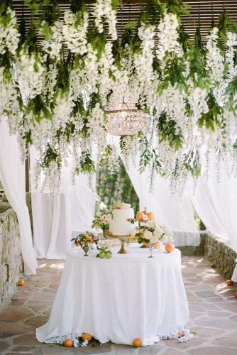 2019 wedding trends summer citrus dessert table with white cake under hanging flowers rebecca yale photography