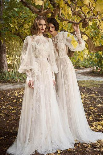 a line with puff sleeves floral white costarellos victorian wedding dresses