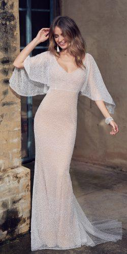 anna campbell sheath vintage scoop neck with draped sleeve wedding dresses wanda
