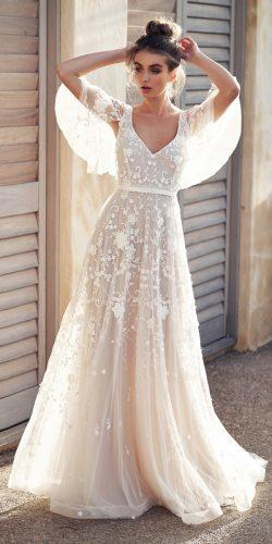 anna campbell wedding dresses a line scoop neckline lace with draped sleeve dresses amelie