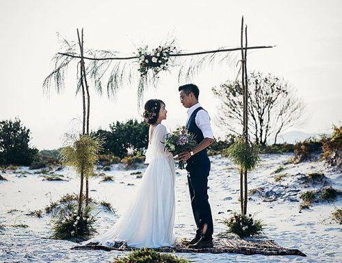 best places to elope beach wedding couple